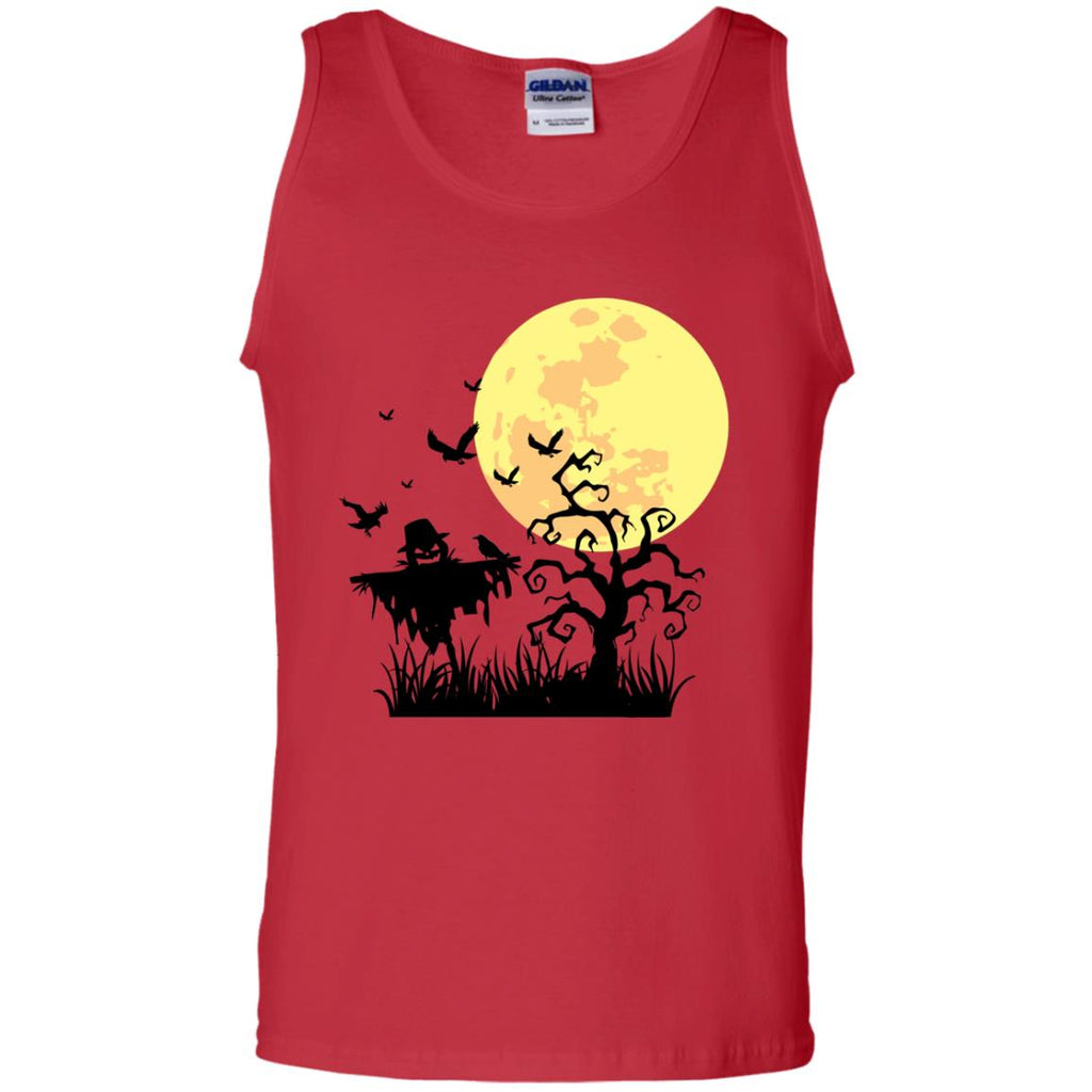 A PUMPKIN SCARECROW IN THE CORNFIELD AND MOON Tank Top