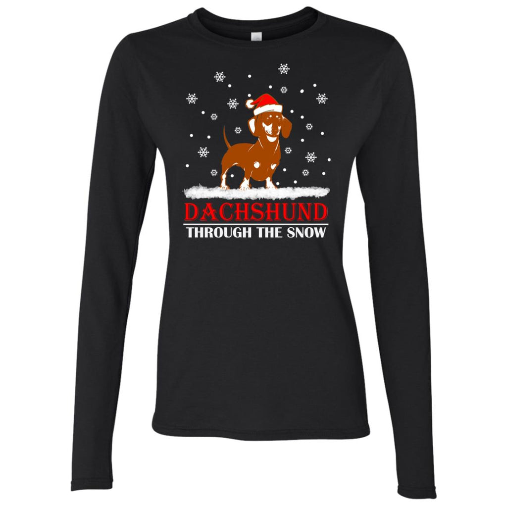 Dachshund through the snow Christmas Women's Long Sleeve