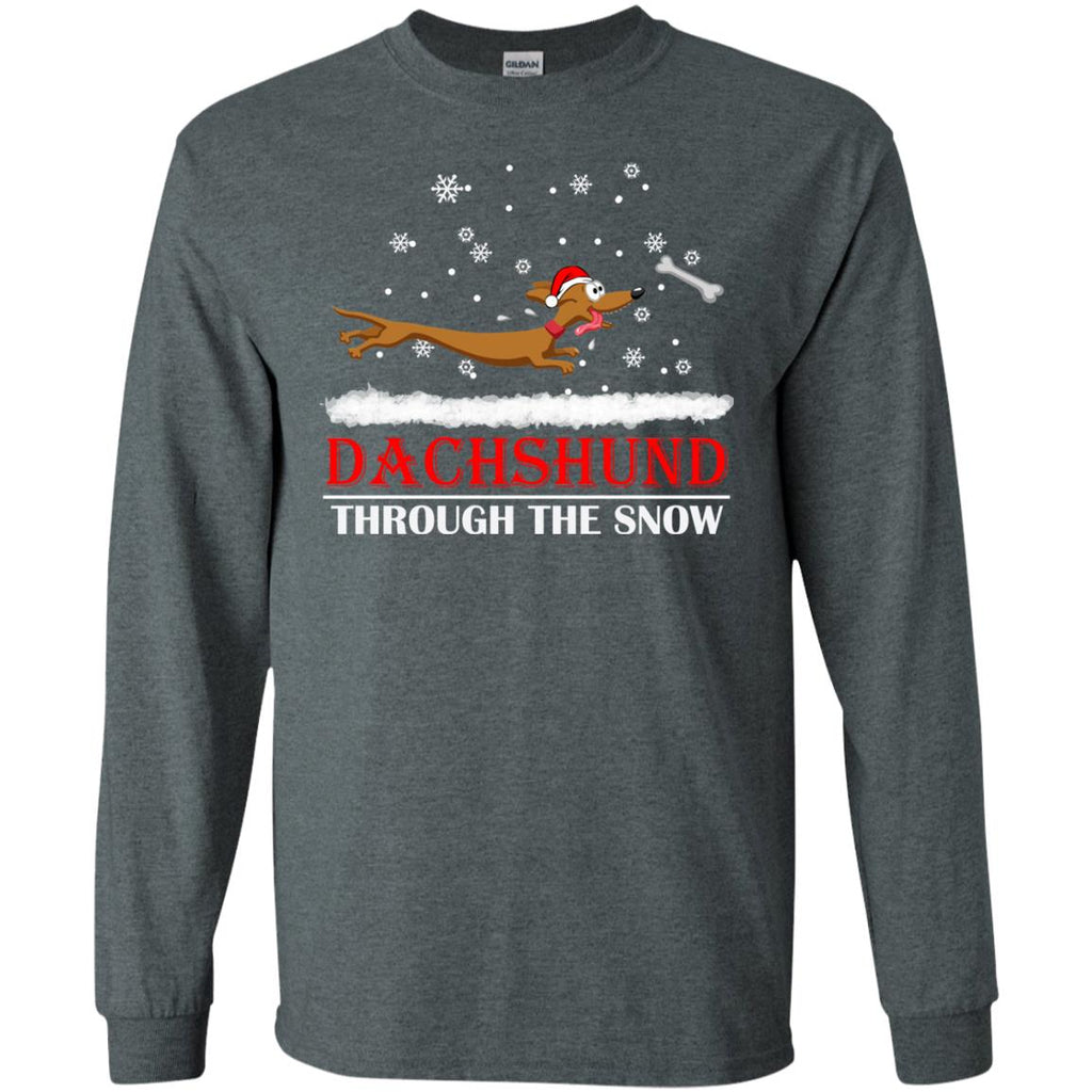 Dachshund through the snow Christmas 3 Long Sleeve