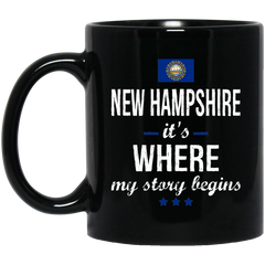 New Hampshire IT'S WHRE MY STORY BEGINS Classic Black Mug