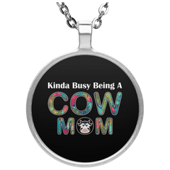 KINDA BUSY BEING A COW MOM Necklace
