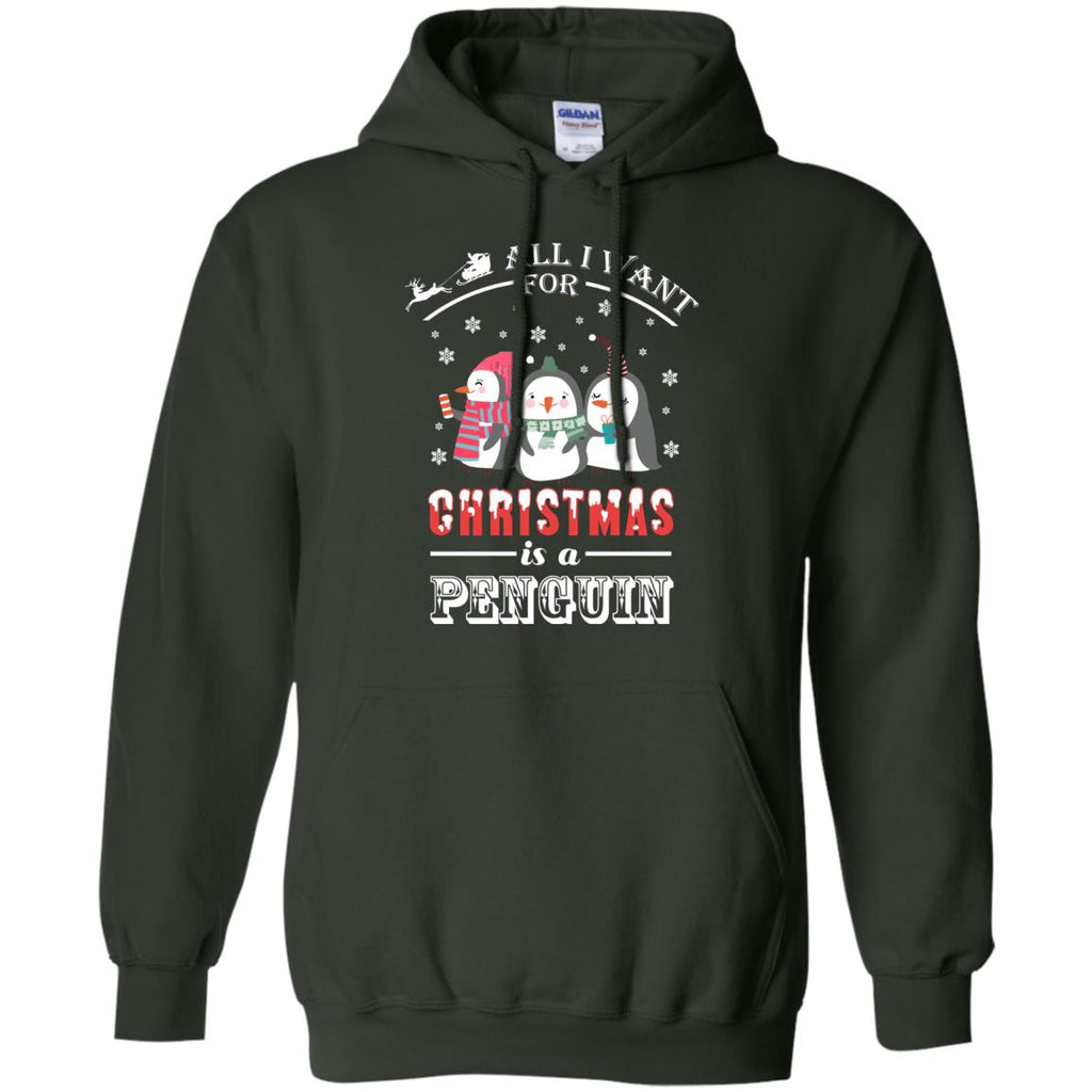 ALL I WANT FOR CHRISTMAS PENGUIN Pullover Hoodie