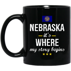 Nebraska IT'S WHRE MY STORY BEGINS Classic Black Mug