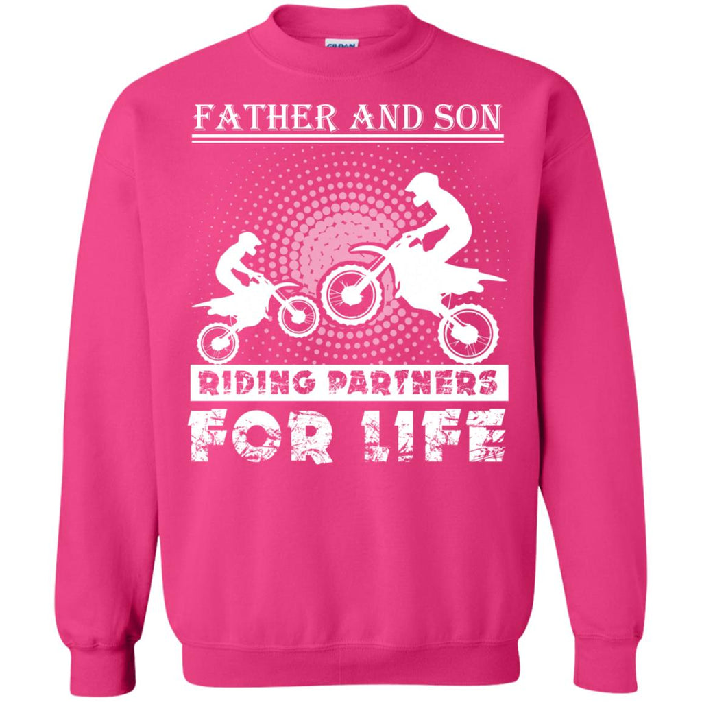 Father And Son Riding Partners For Life Crewneck Sweatshirt