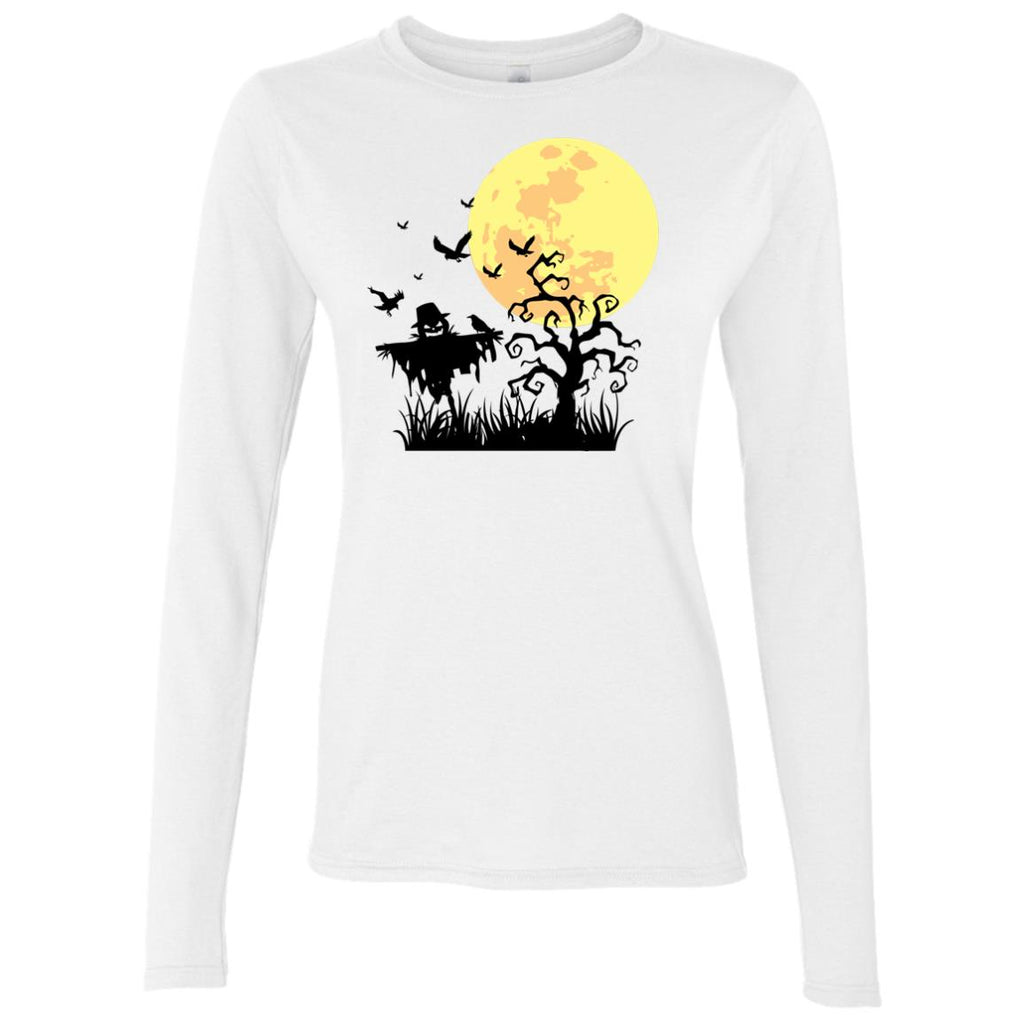 A PUMPKIN SCARECROW IN THE CORNFIELD AND MOON Women's Long Sleeve