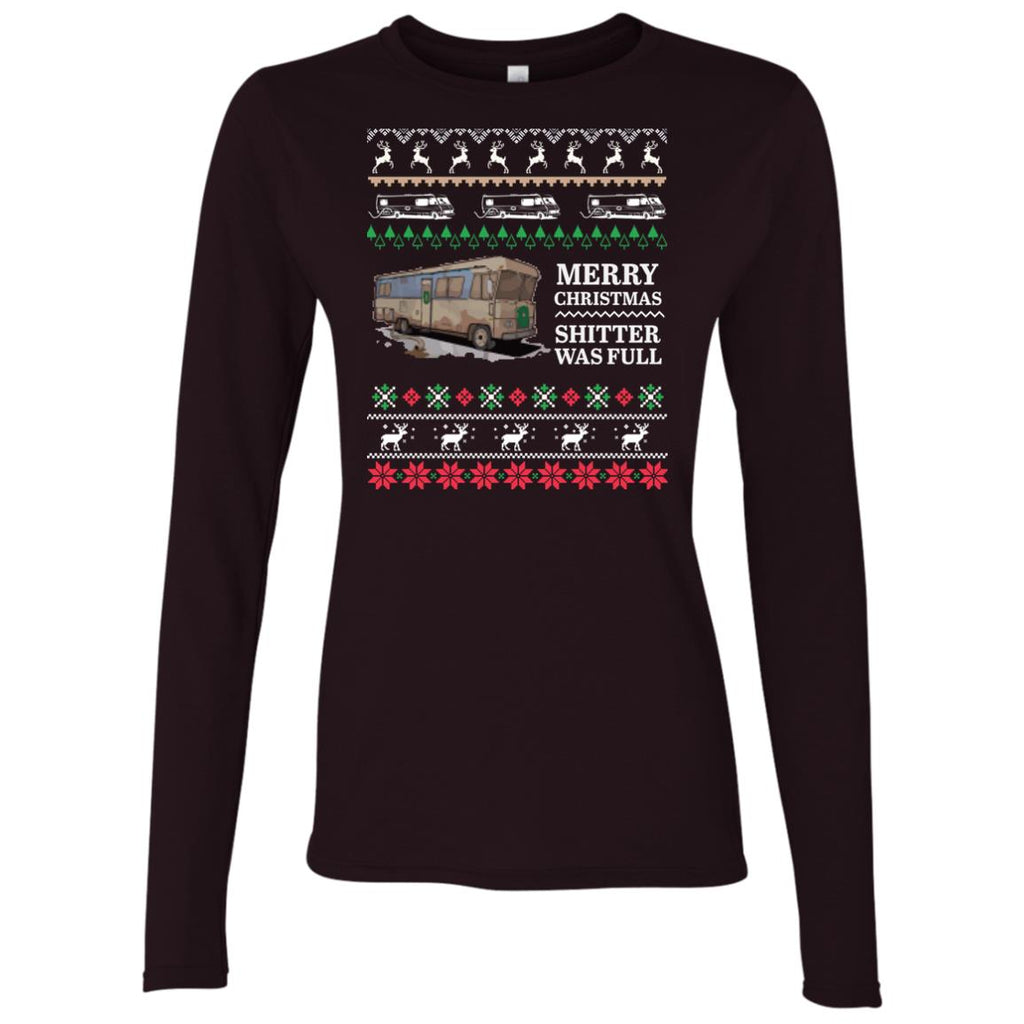 Merry Christmas shitter was full - Ugly Xmas Women's Long Sleeve