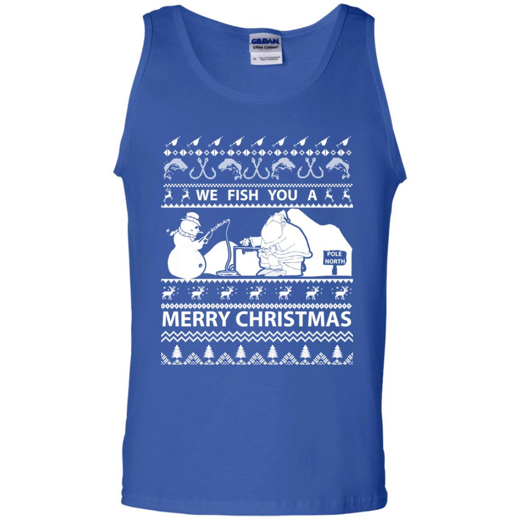 We Fish You a Merry Christmas Fishing Ugly Christmas Sweater Tank Top