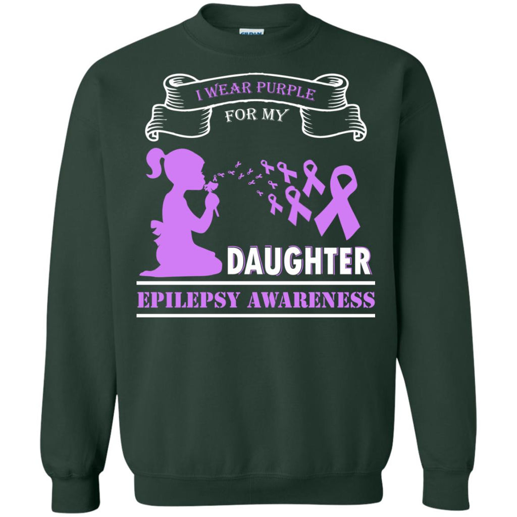 I wear Purple for my Daughter - Epilepsy Awareness Crewneck Sweatshirt