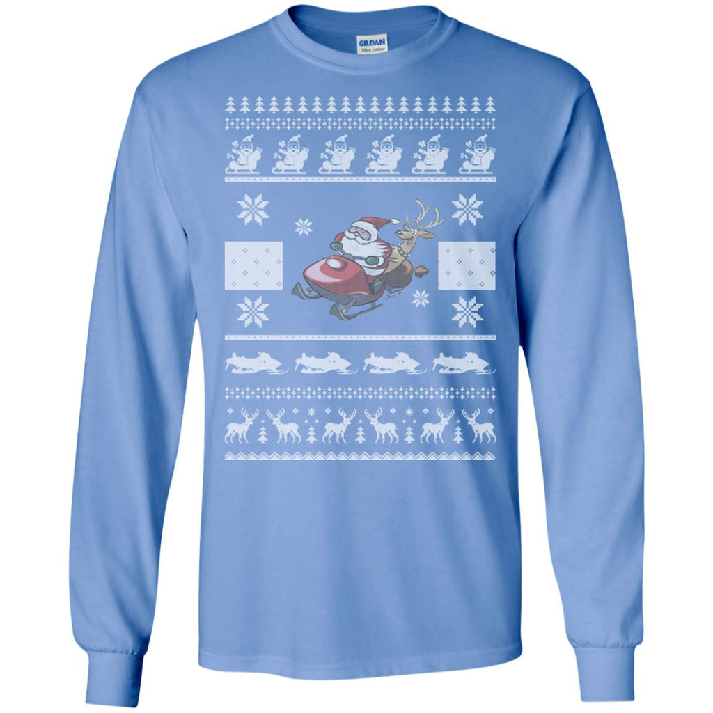 snowmobile christmas ugly sweater 2 Long Sleeve