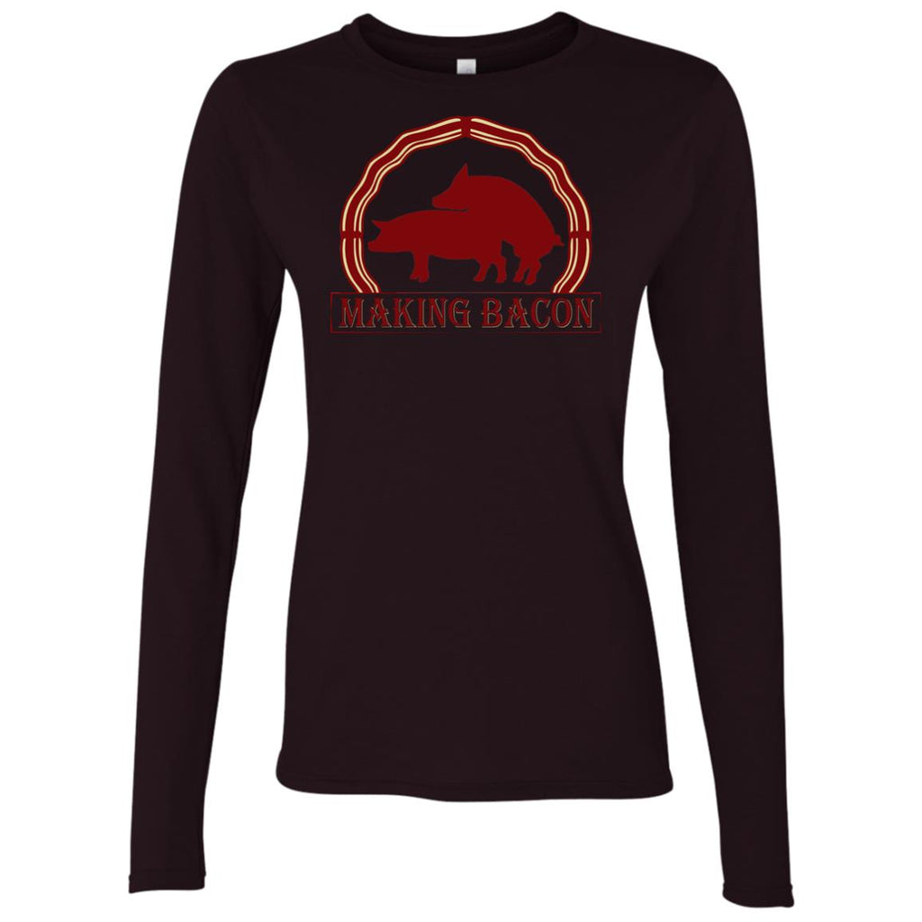 FUNNY PIG MAKING BACON Women's Long Sleeve