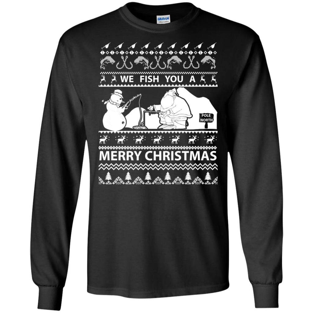 We Fish You a Merry Christmas Fishing Ugly Christmas Sweater Long Sleeve