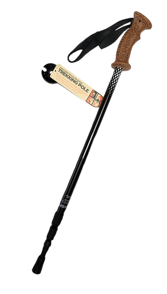 Black hiking pole with cork handle