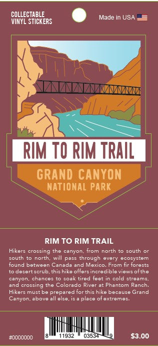 Rim to Rim: Grand Canyon National Park Decal