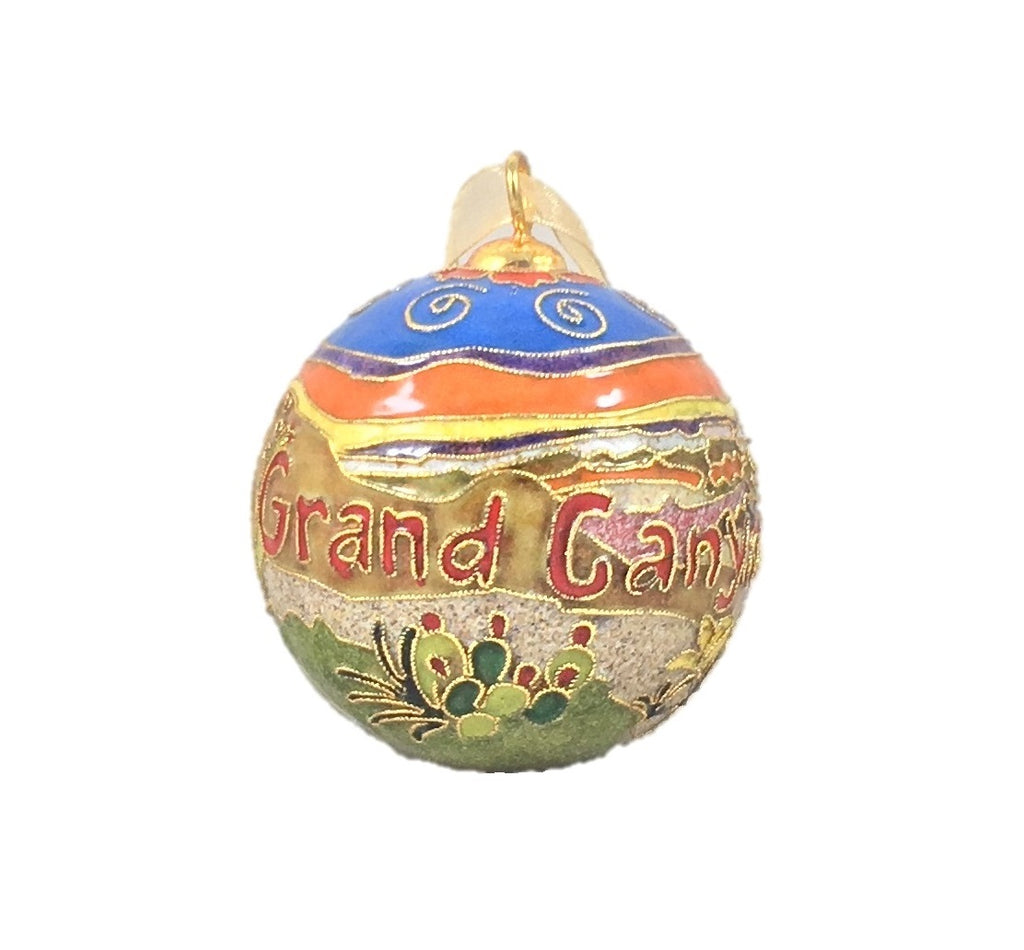 Grand Canyon Cloisonné Ornament, 24k gold plated