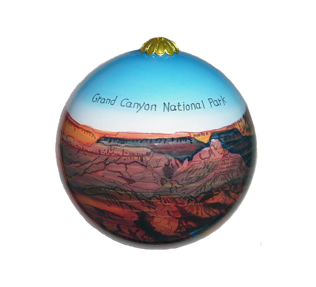 Grand Canyon Blue Sky Hand Painted Ornament, 4""
