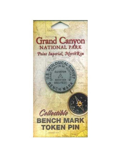 Bench Mark Token Pin: Point Imperial, North Rim Grand Canyon