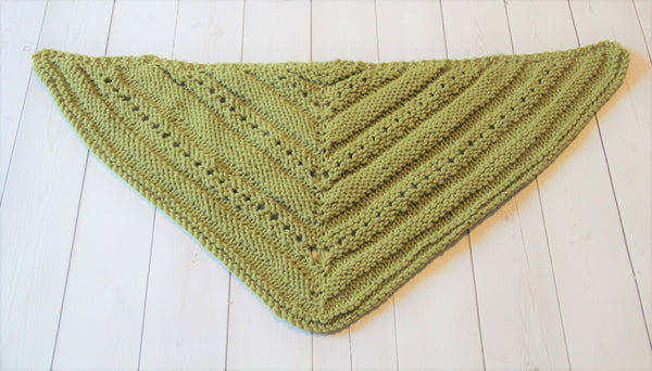 Hand Knit Wool Triangle Scarf