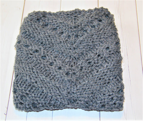 Handknit Gray Wool Triangle Scarf