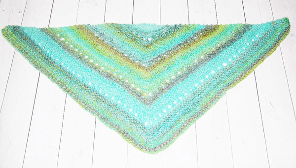 hand knit triangle scarf