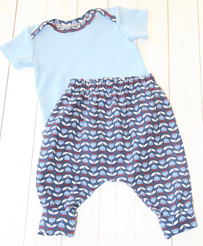Organic Bodysuit and Pants Set - Blue