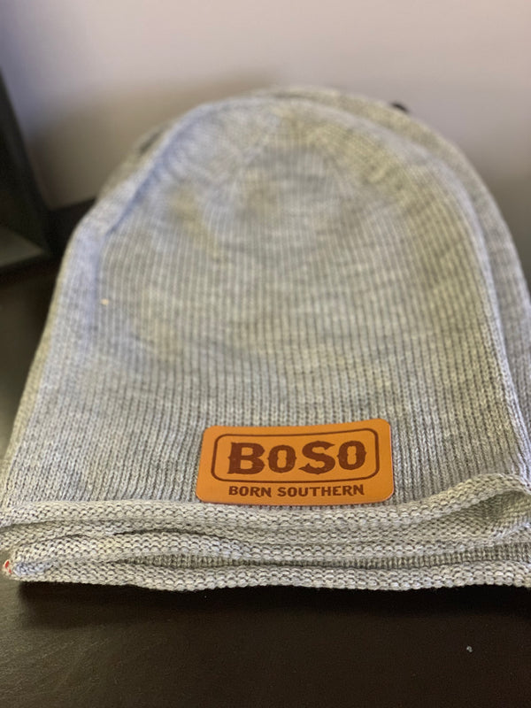 Signature Knit Beanie with Leather BoSo Logo Patch