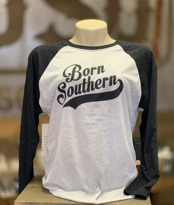 Baseball Style length 3/4 Sleeve T-Shirt With Classic Born Southern Logo