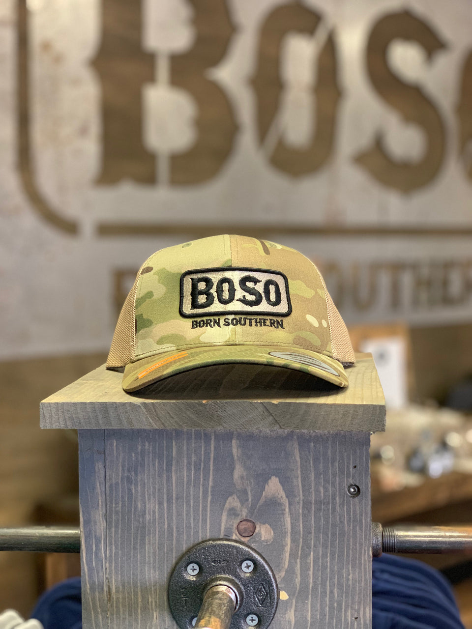 Camouflage Snapback Hat with BoSo Logo