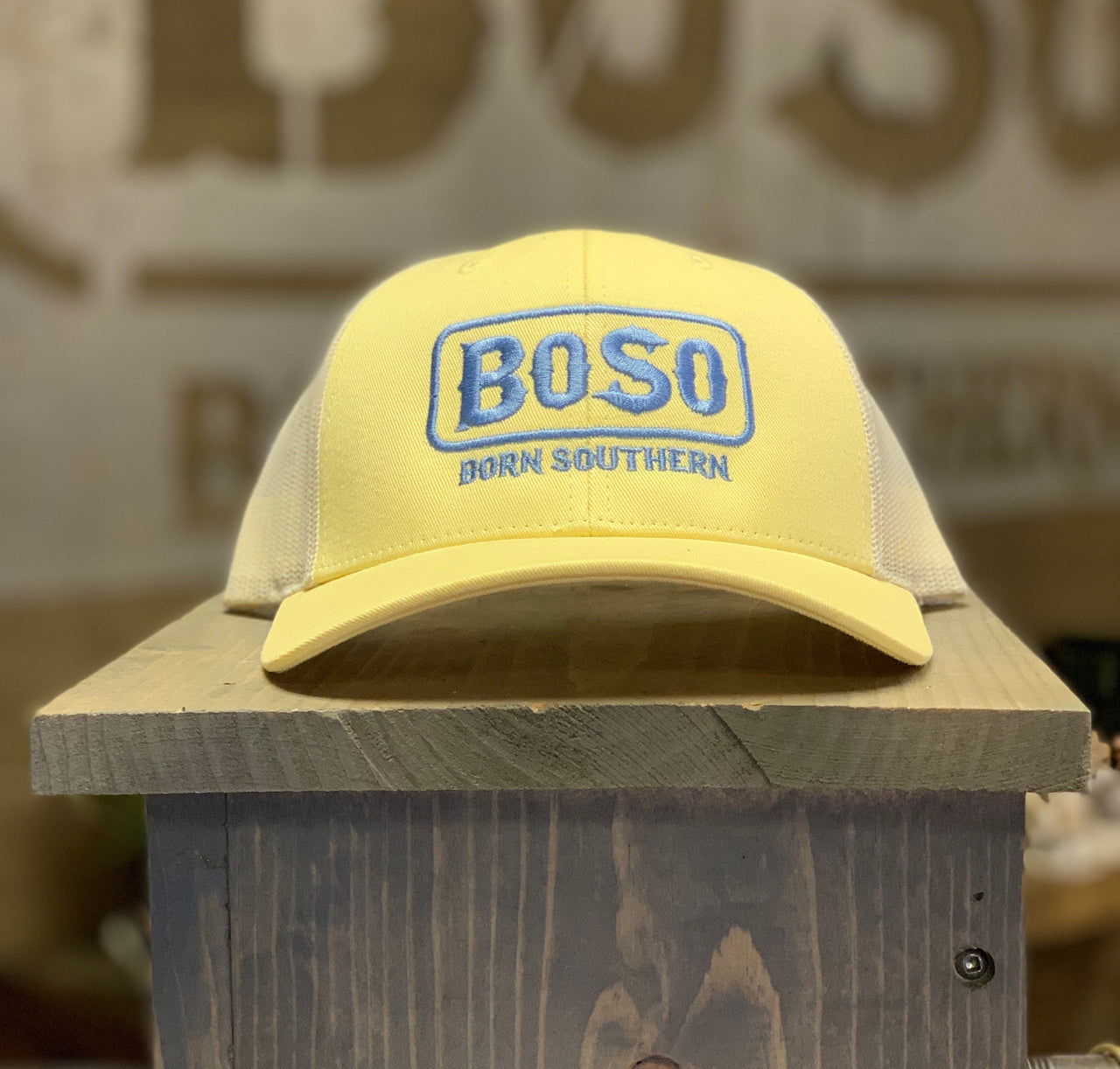 Pastel Yellow Snapback Hat with BoSo Logo