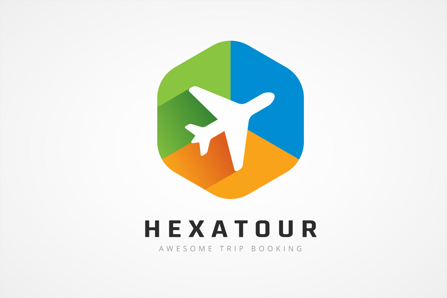 Colorful Hexagon Plane Logo