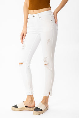 White Mid-Rise Ankle Skinny