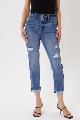 Distressed Double Button Skinny Jeans