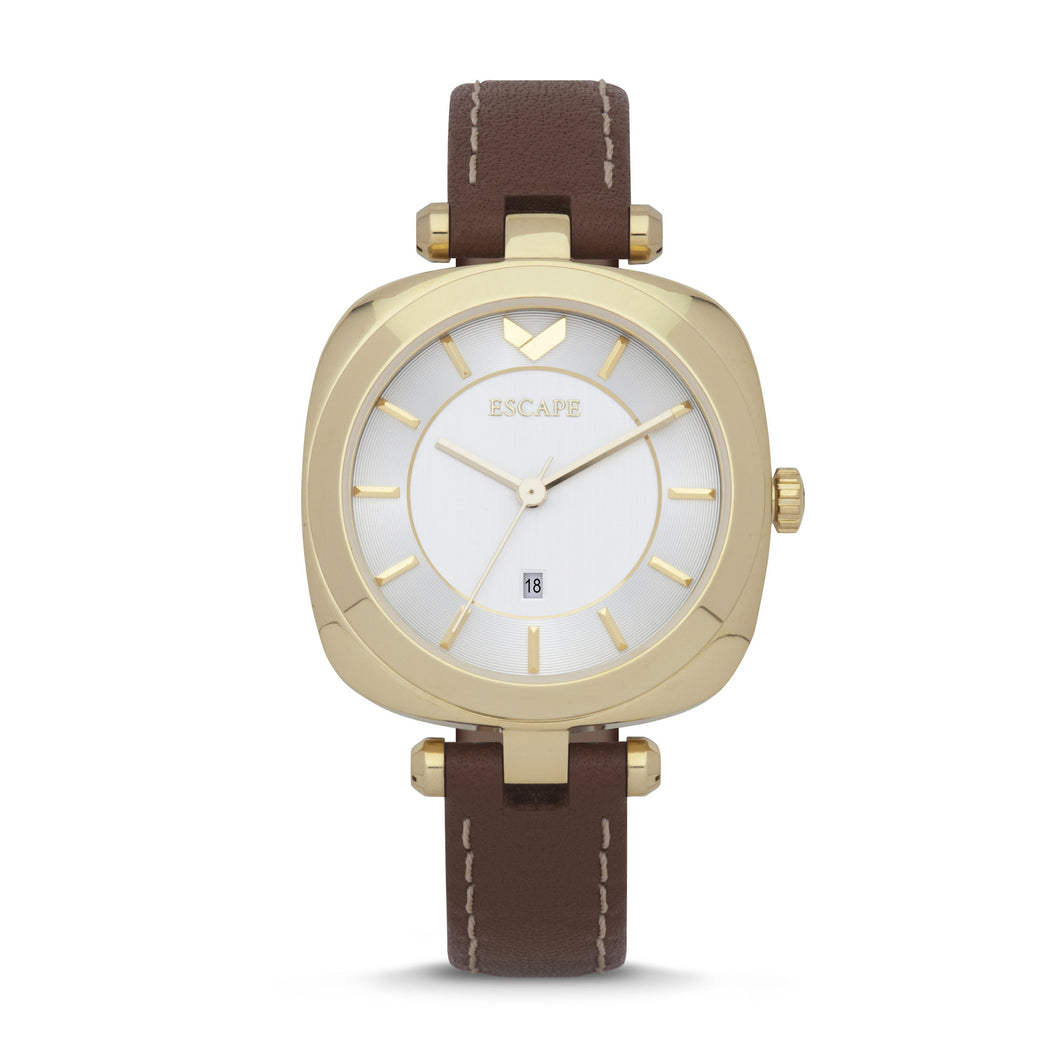 Escape Watch - Coachella White Face, Three-Hand, Date Leather Watch/Tobacco