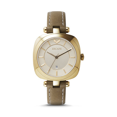 Escape Watch - Coachella Gold Face, Three-Hand, Date Leather Watch/Tan