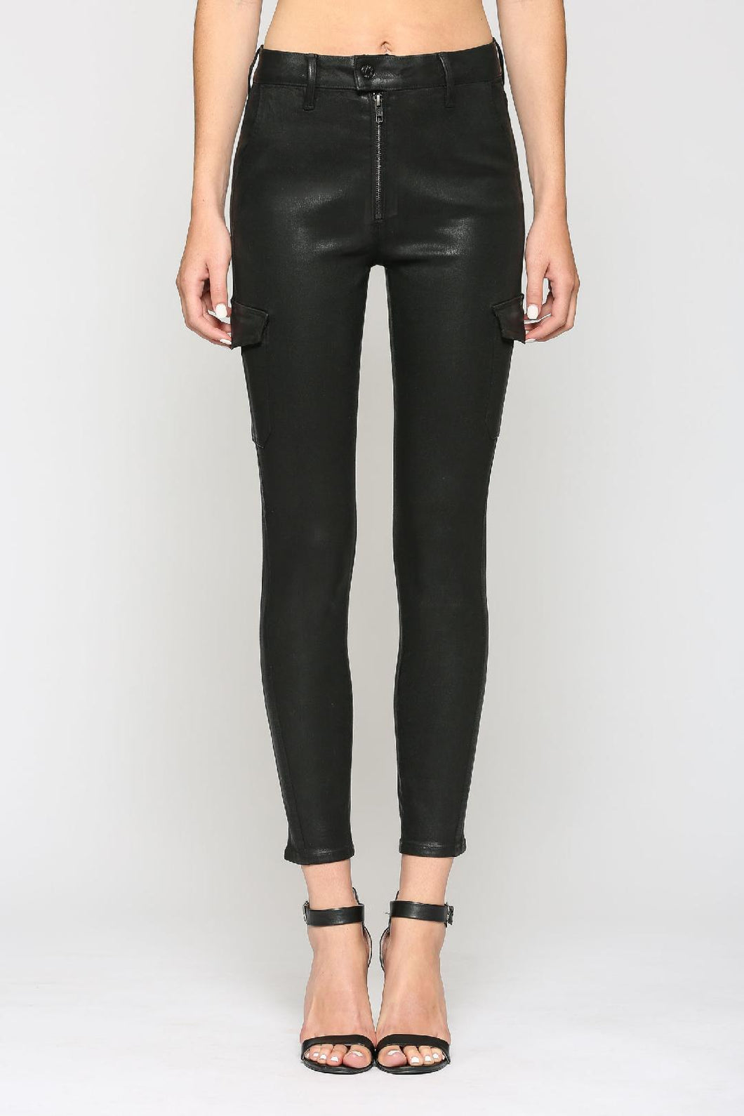 High rise skinny jeans, black