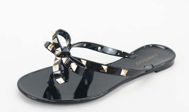 Jellie Sandals With Bow and Gold Studs, Black