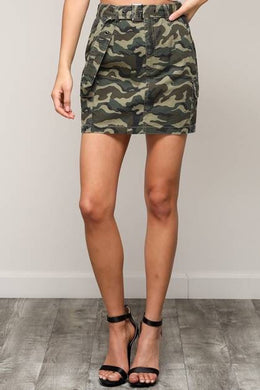 Camo Cargo Style MIni Skirt With Belt
