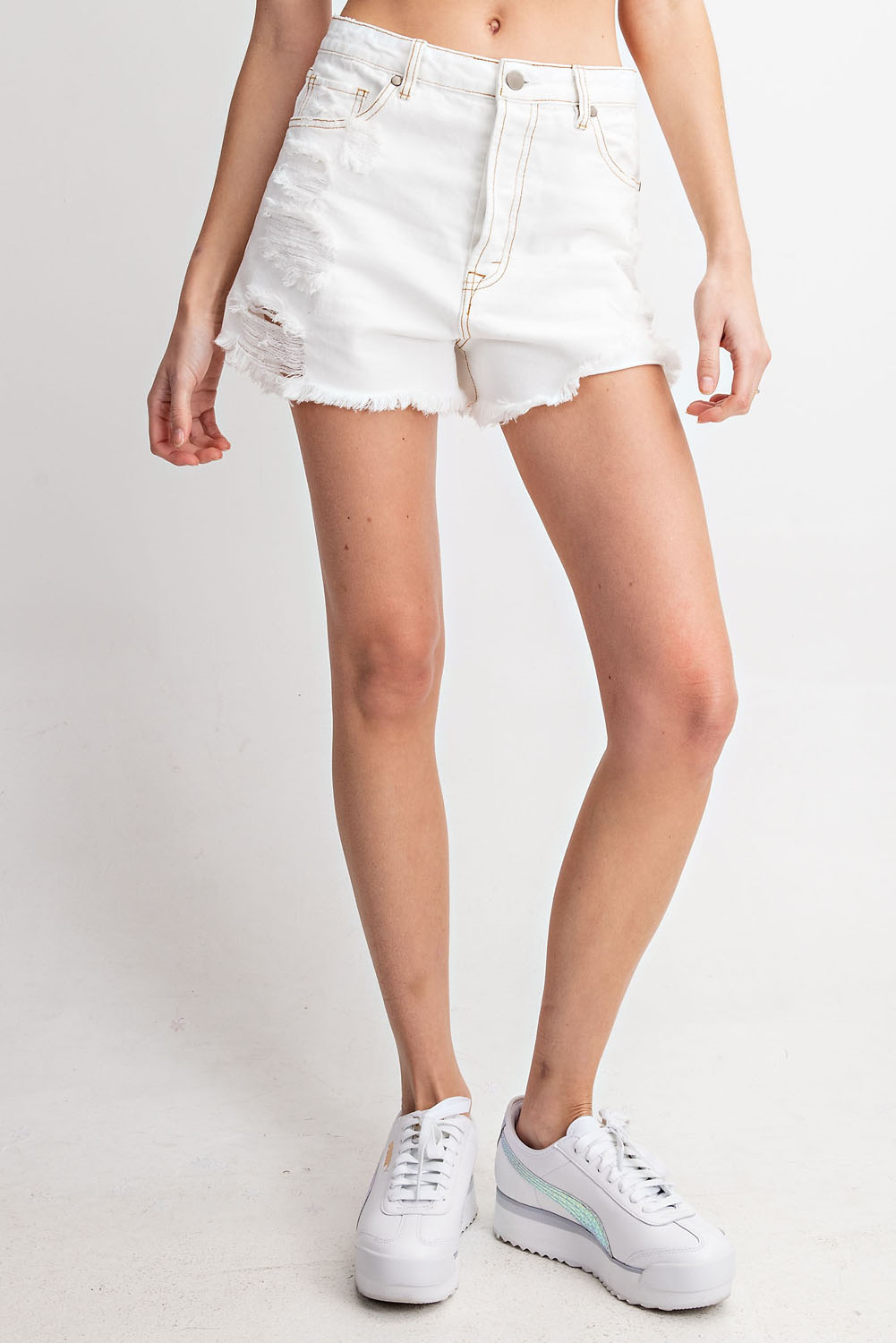 White Distressed Denim Jean Shorts