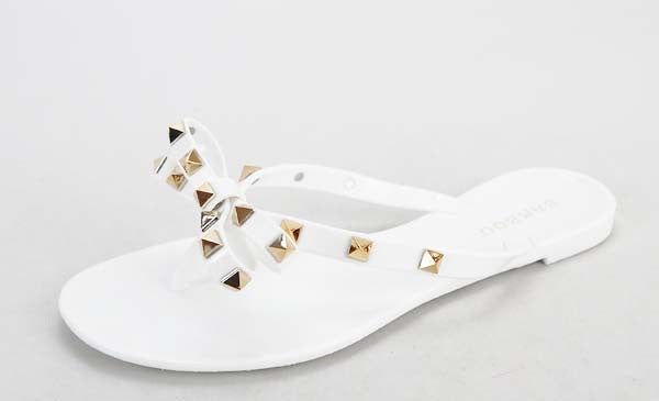 Jellie Sandals With Bow And Gold Studs, White- ON SALE
