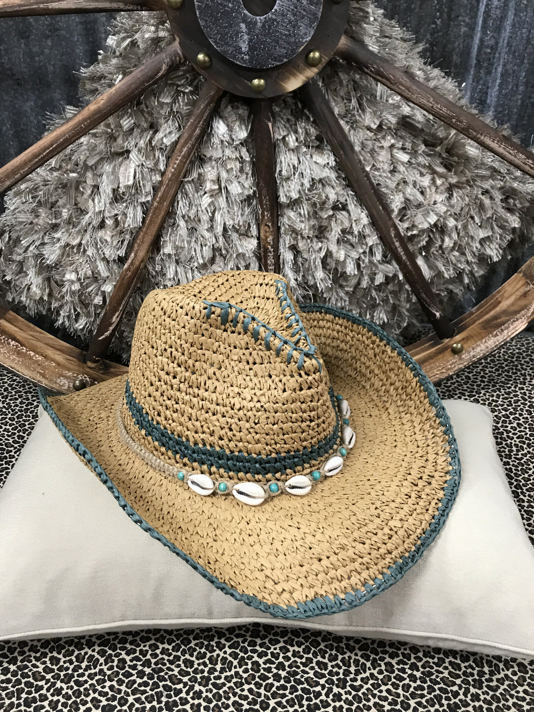 Tropical Trends - Woven Hat w/ Seashell Detail, Turquoise