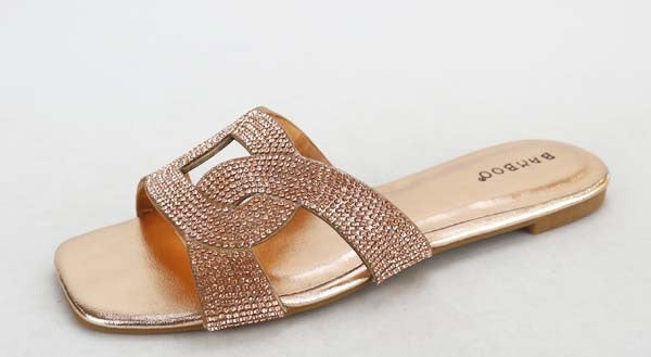 Rose Gold Badazzled Sandals- ON SALE