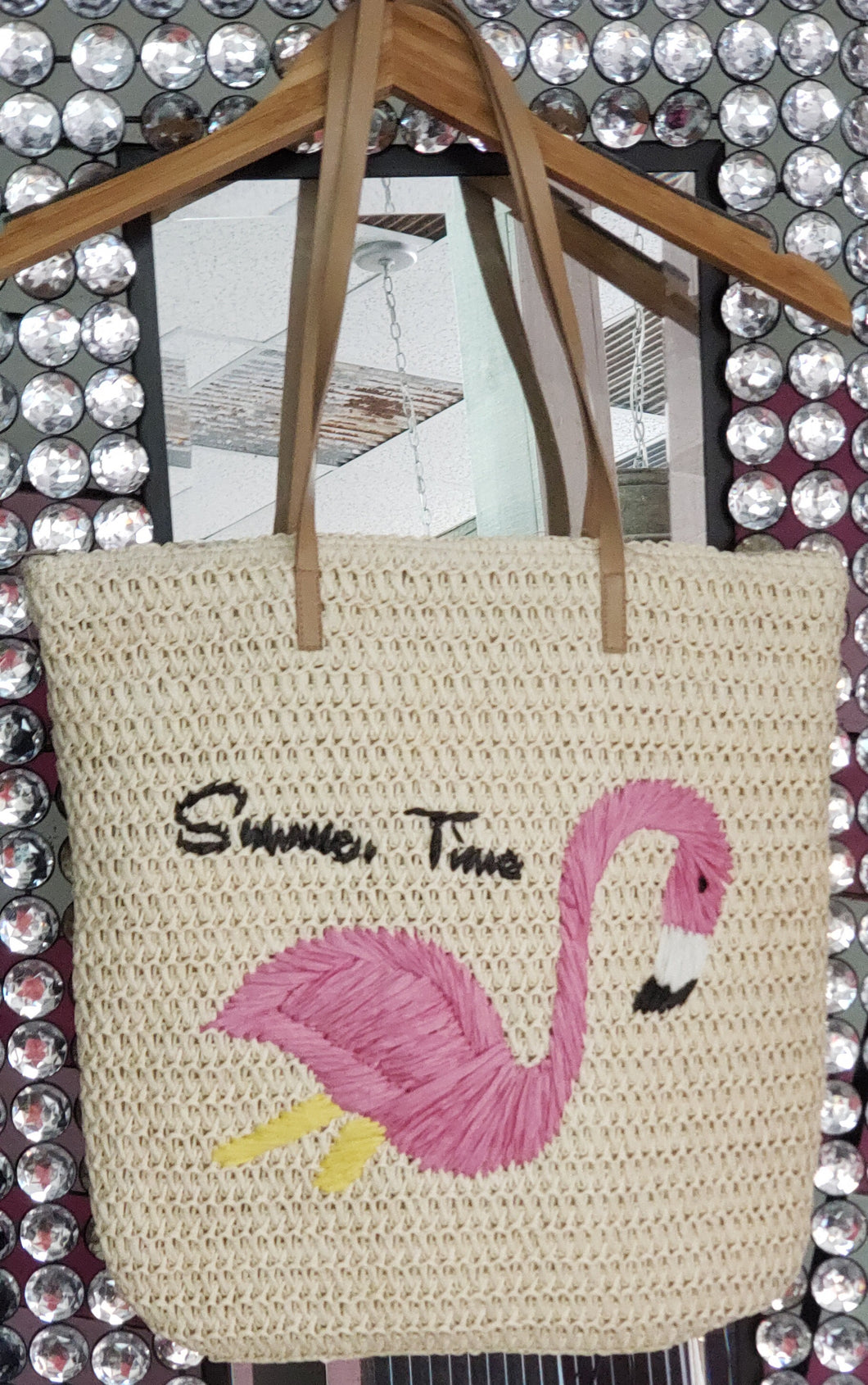 Straw Beach Bag With Leather Handles And A Flamingo