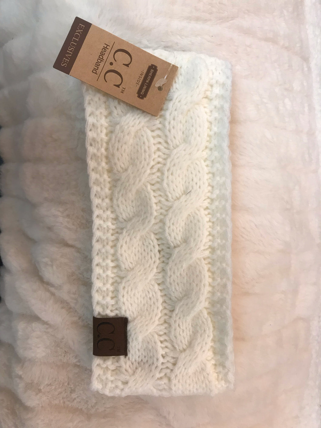 Ivory Knit CC Headband