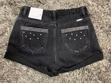 Rode'o Exclusive Frayed Hem Distressed Black Denim Shorts