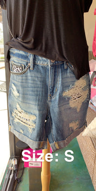 Rode'o Mom Style Five Pocket Ripped Shorts