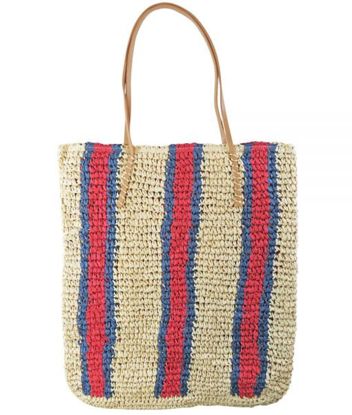 Mellow Mood Blue and Red Strip Bamboo woven Tote and handbag