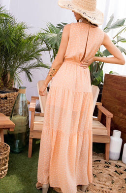 Peach Speckled Sundress With Waist Tie