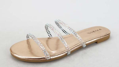 Dainty Silver Diamond Sandals, Silver