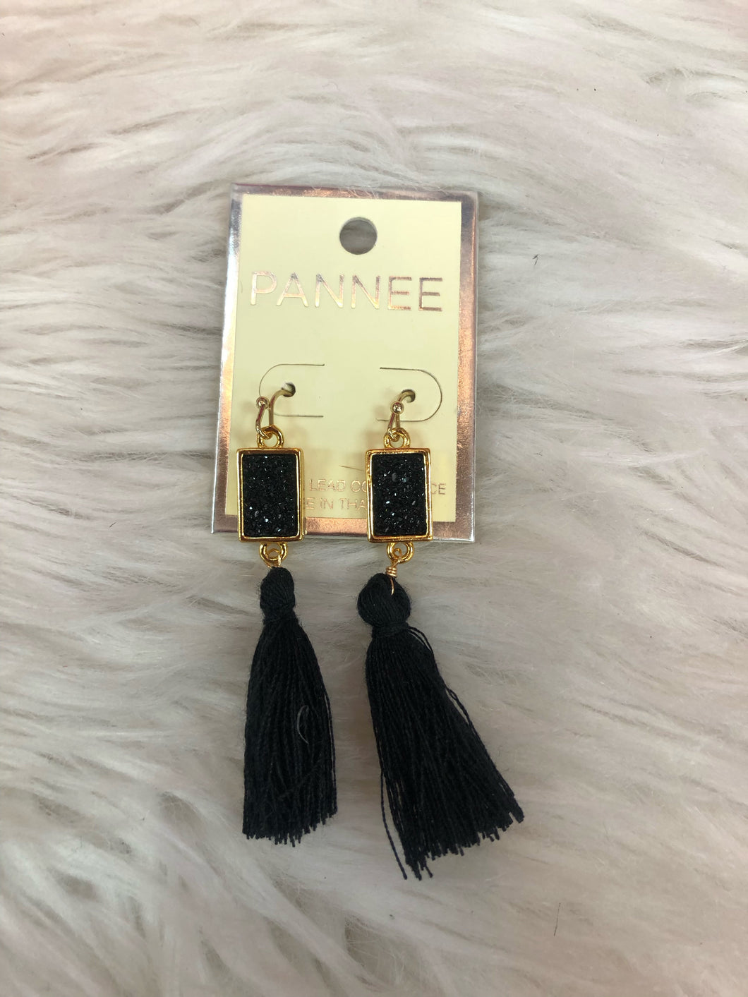 Black Fringe And Glitz Earrings With Gold