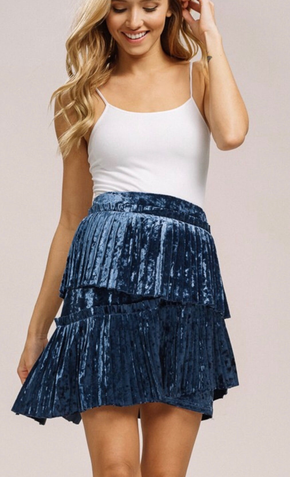 Layered Velvet Pleated Skirt
