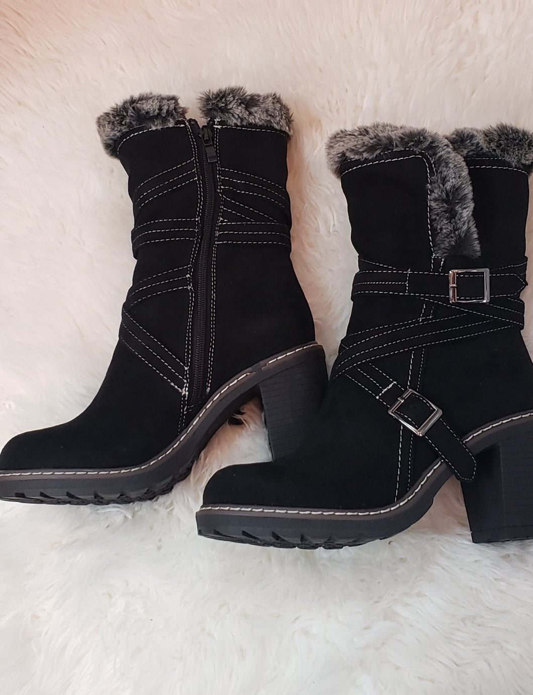 Black Heeled Cottage Boots With Fleece Lining